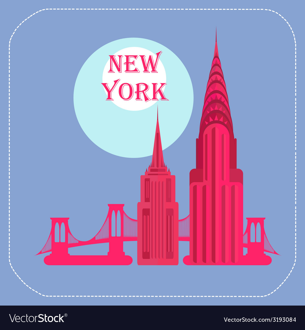New york empire state building chrysler building vector | Price: 1 Credit (USD $1)