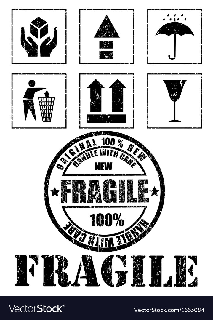 Safety fragile signs and stamp vector | Price: 1 Credit (USD $1)