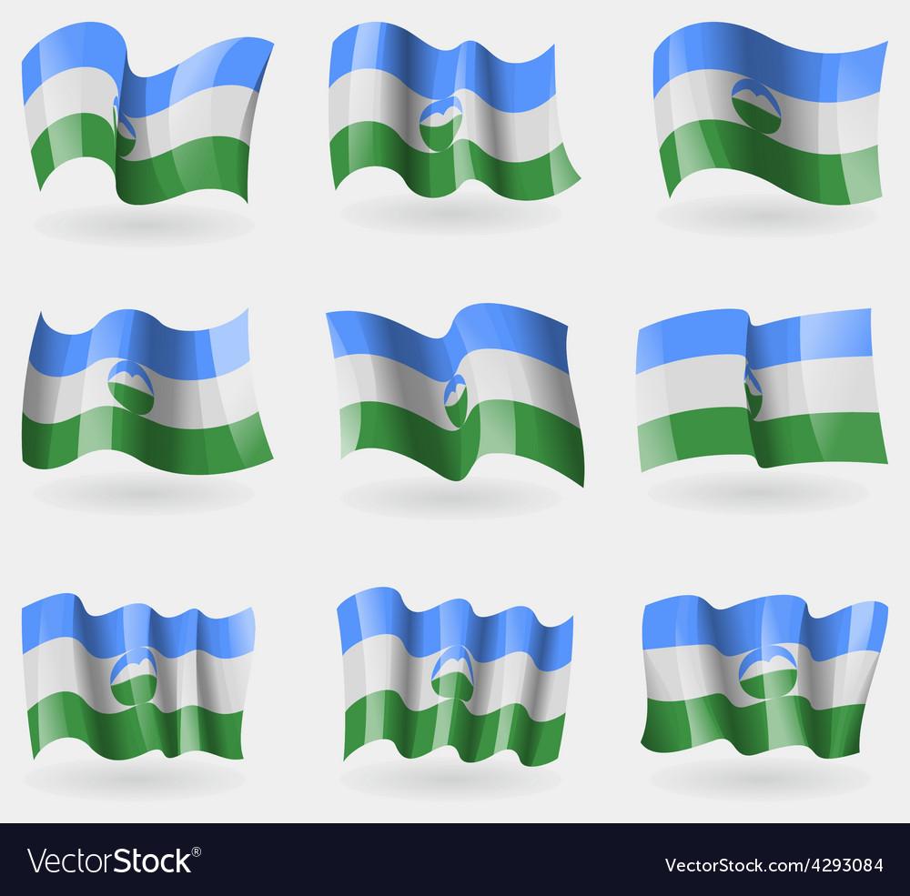 Set of kabardinobalkaria flags in the air vector | Price: 3 Credit (USD $3)