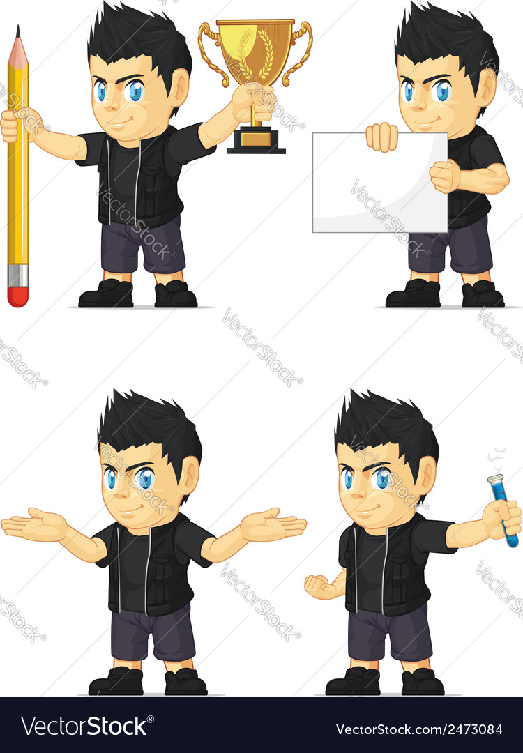 Spiky rocker boy customizable mascot 3 vector | Price: 1 Credit (USD $1)
