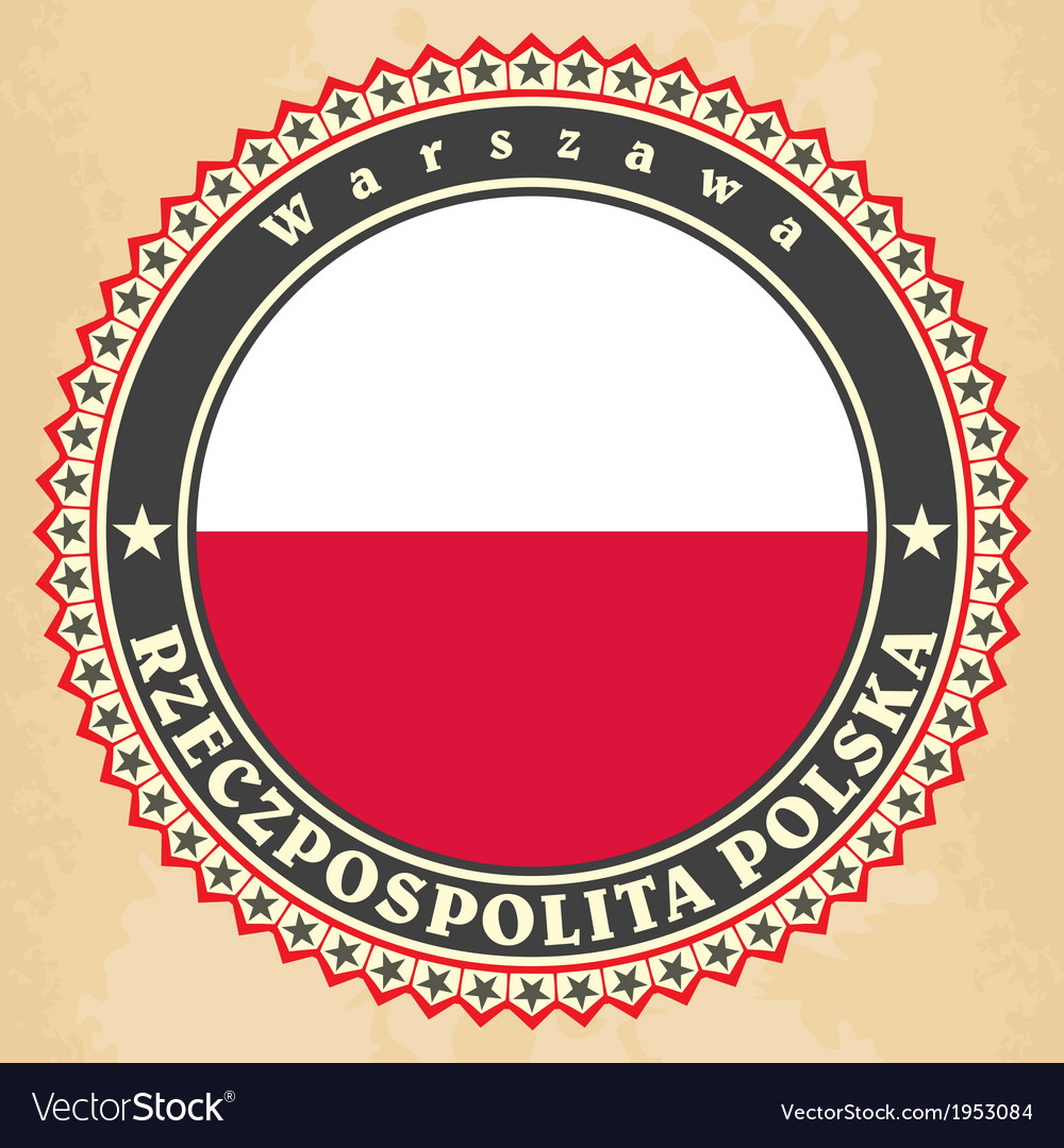 Vintage label cards of poland flag vector | Price: 1 Credit (USD $1)