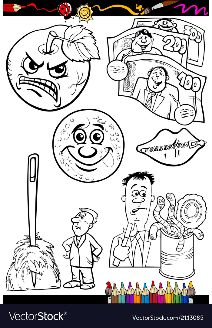 Cartoon sayings set for coloring book vector | Price: 1 Credit (USD $1)