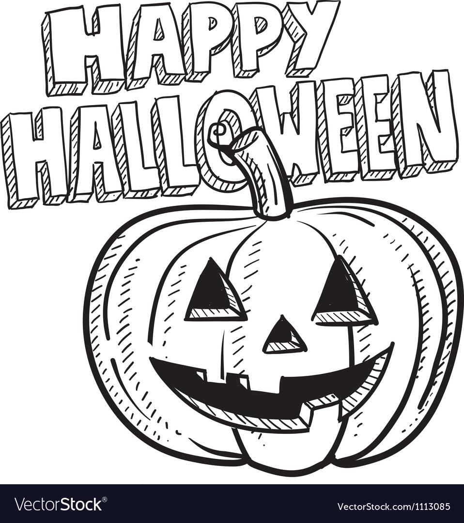 Doodle happy halloween jack o lantern pumpkin vector | Price: 1 Credit (USD $1)
