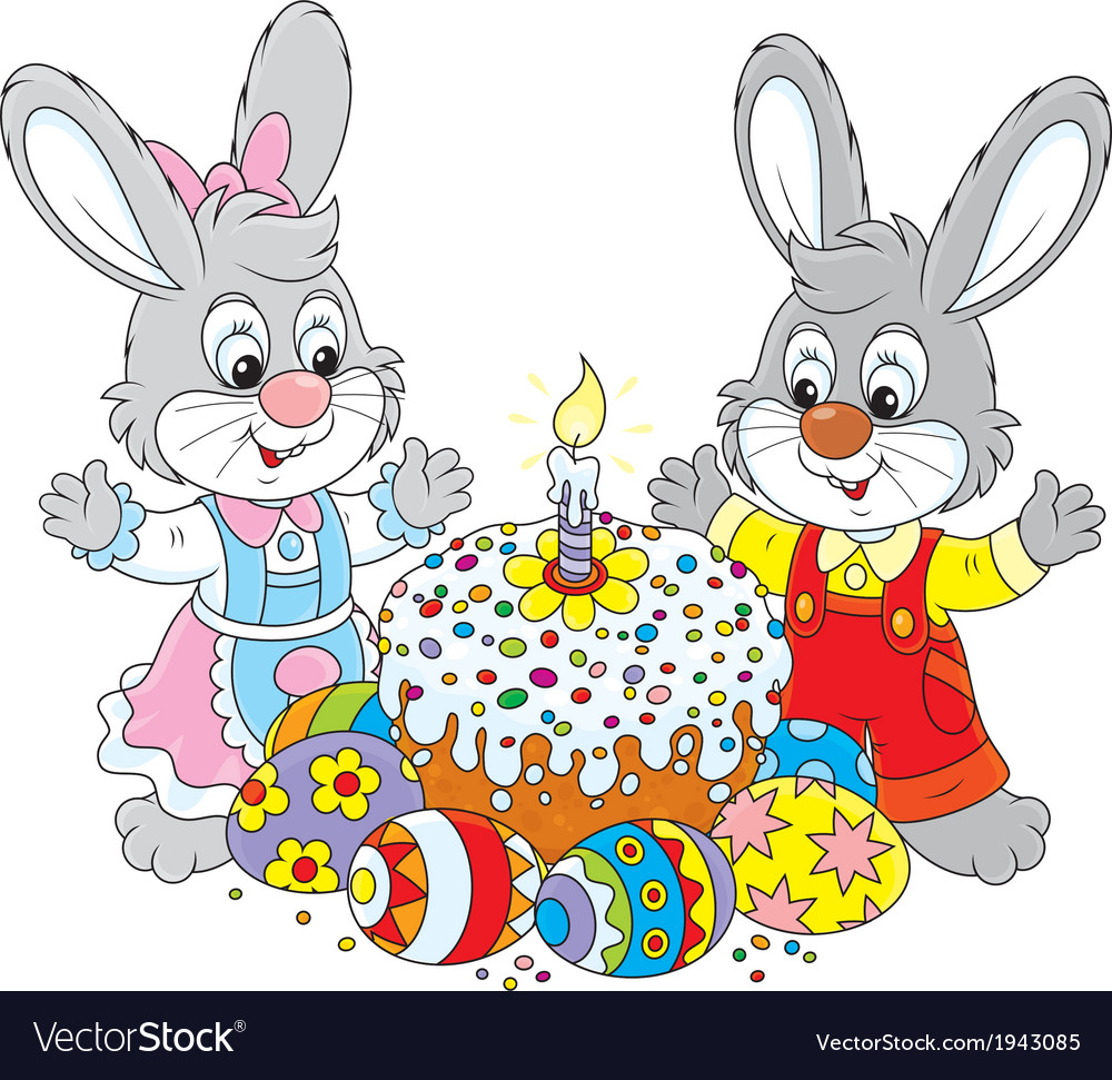 Easter cake and painted eggs vector | Price: 1 Credit (USD $1)