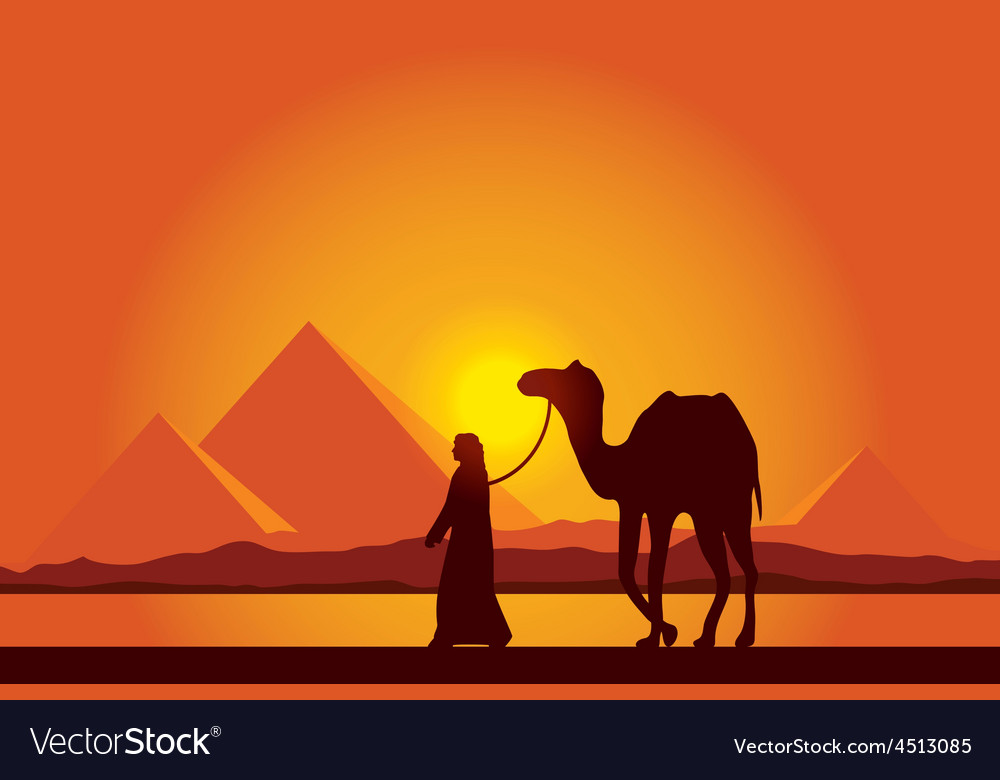 Egypt great pyramids on sunset background vector | Price: 1 Credit (USD $1)
