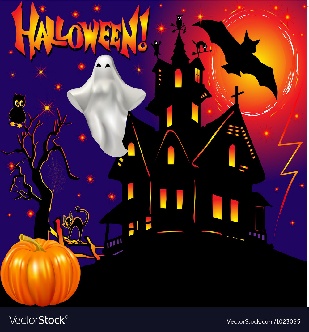 Halloween ghost house vector | Price: 1 Credit (USD $1)