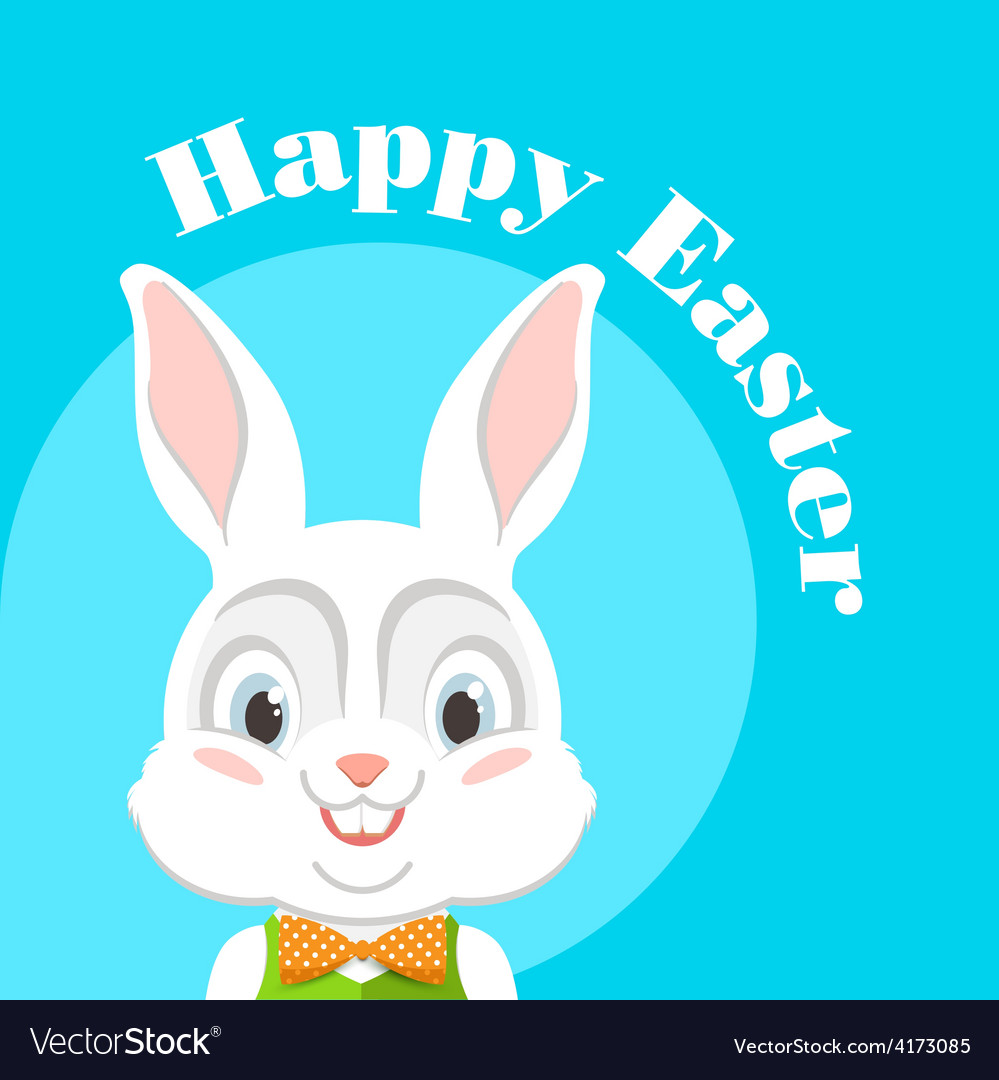 Happy easter with easter bunny vector | Price: 1 Credit (USD $1)