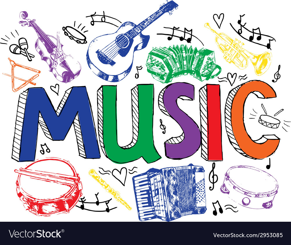 Music background color sketch vector | Price: 1 Credit (USD $1)