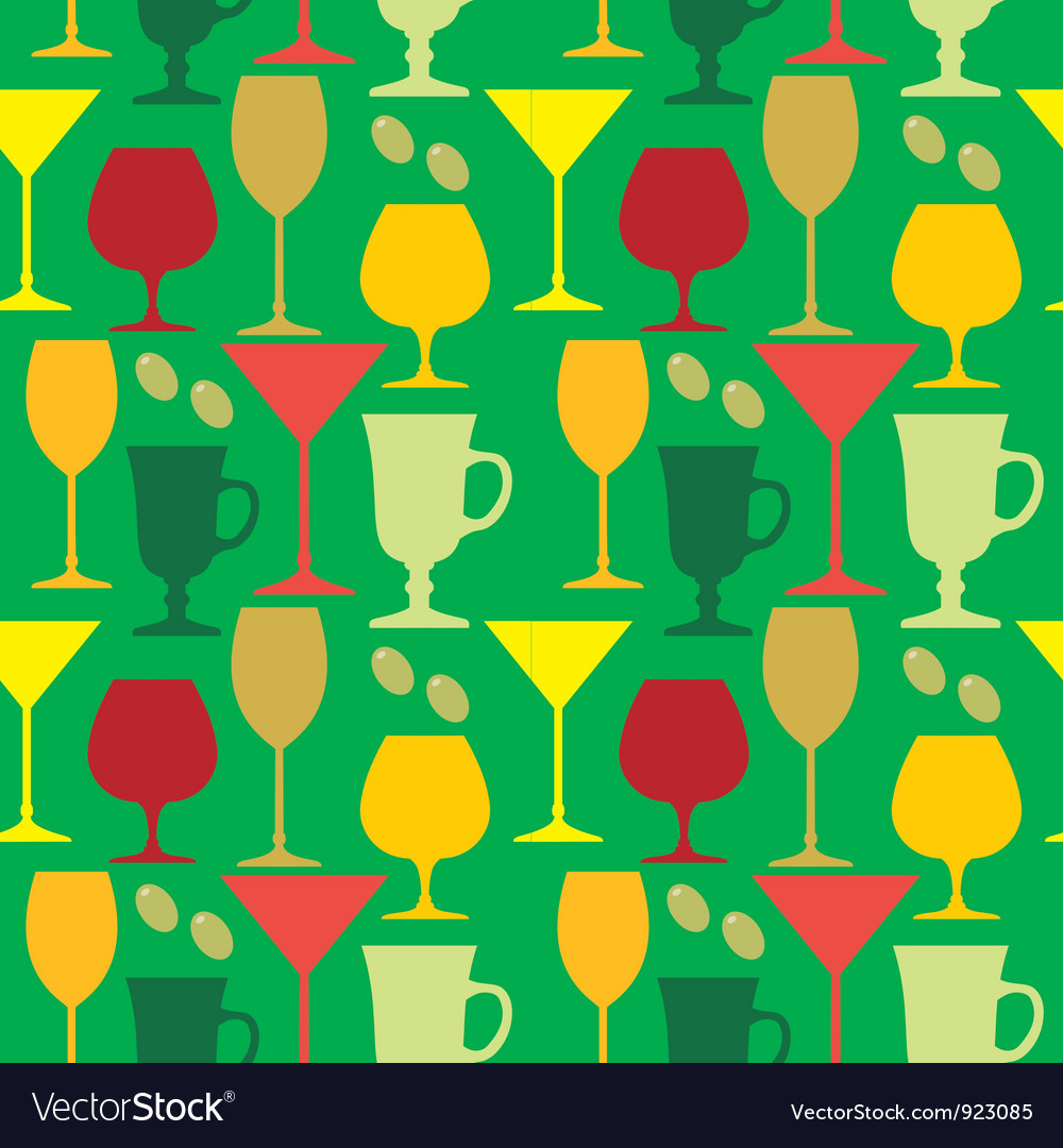 Seamless wine glasses pattern vector | Price: 1 Credit (USD $1)