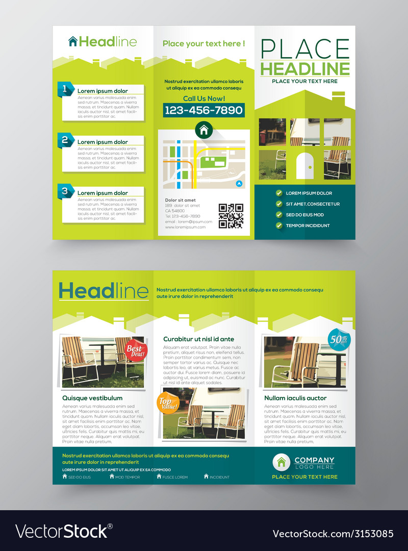 Tri fold real estate brochure flyer template vector | Price: 1 Credit (USD $1)