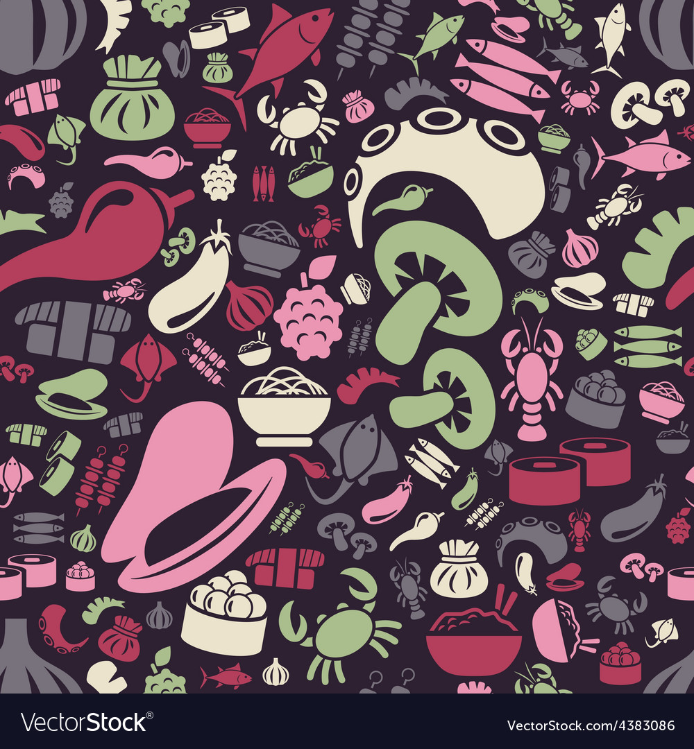 Asian food seamless pattern vector | Price: 1 Credit (USD $1)