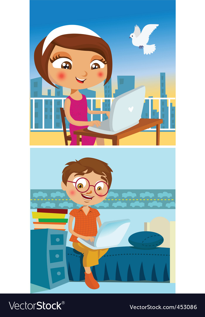 Boy and girl chatting vector | Price: 3 Credit (USD $3)
