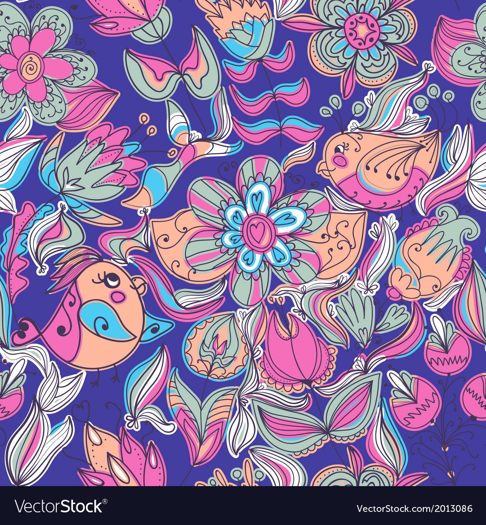 Cute colorful floral seamless pattern with bird vector | Price: 1 Credit (USD $1)