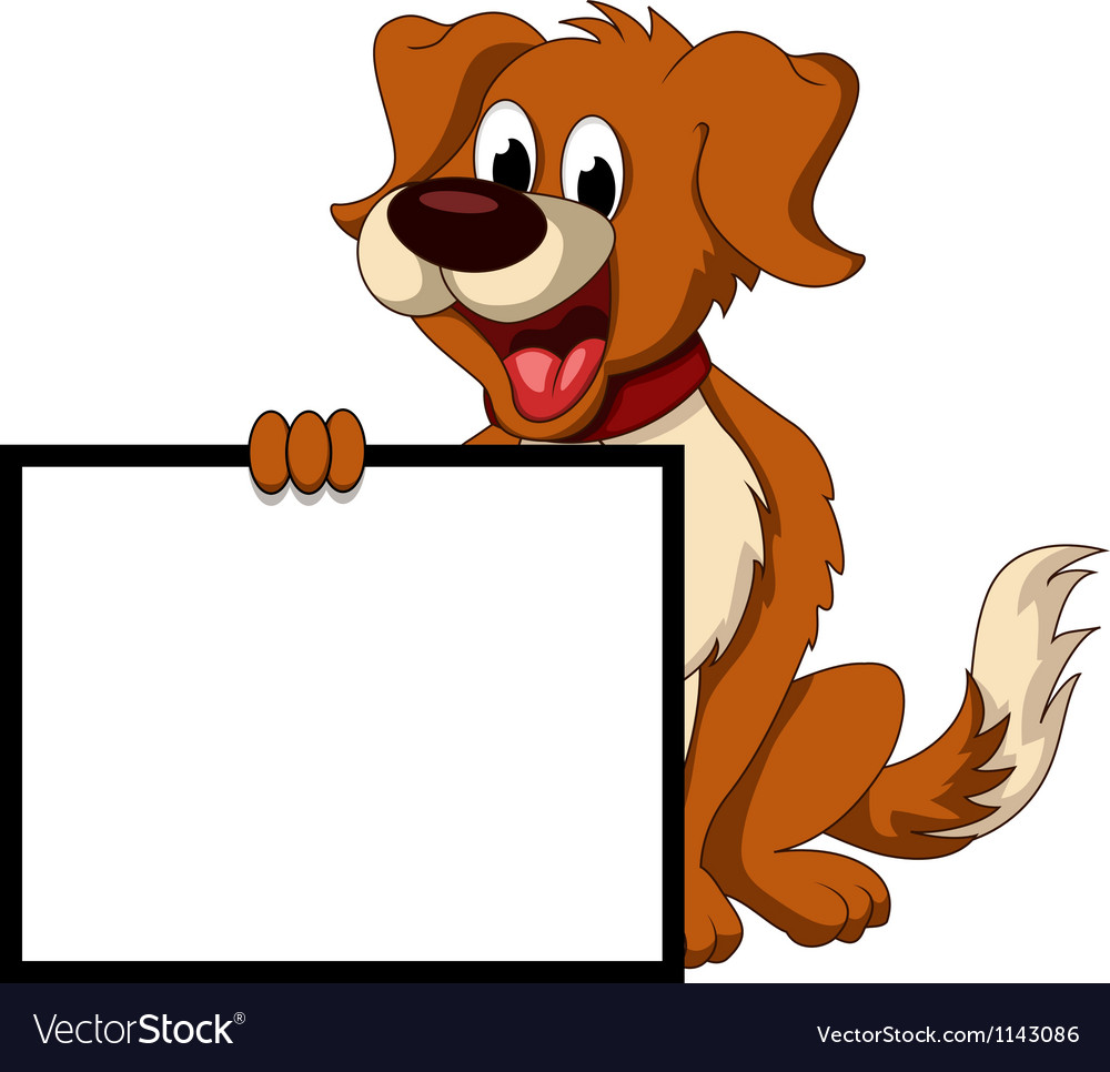 Cute dog cartoon holding blank sign vector | Price: 1 Credit (USD $1)