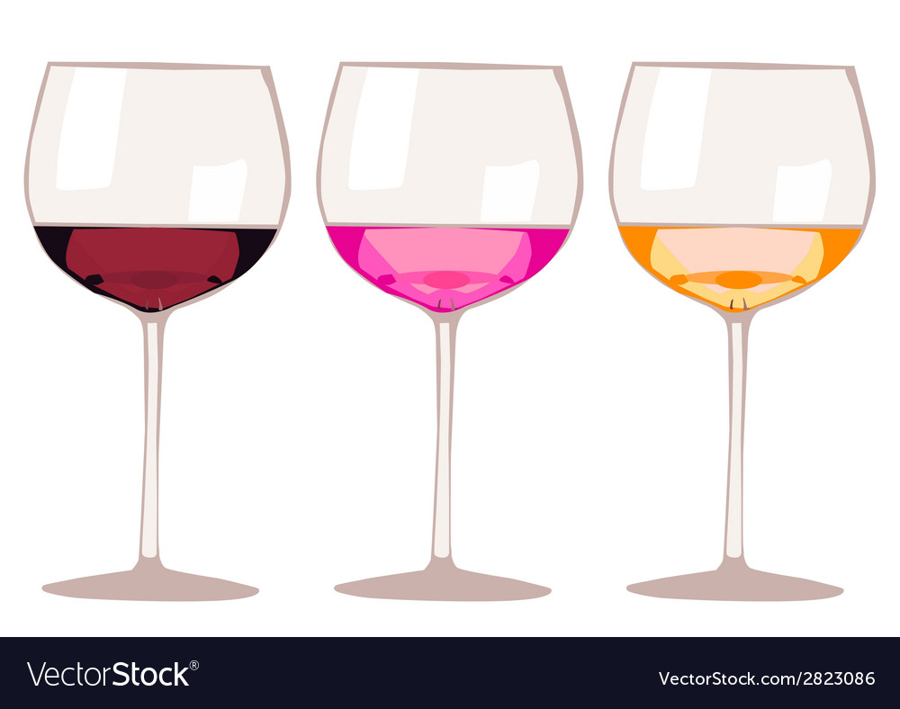 Glasses with wine and champagne isolated on white vector | Price: 1 Credit (USD $1)