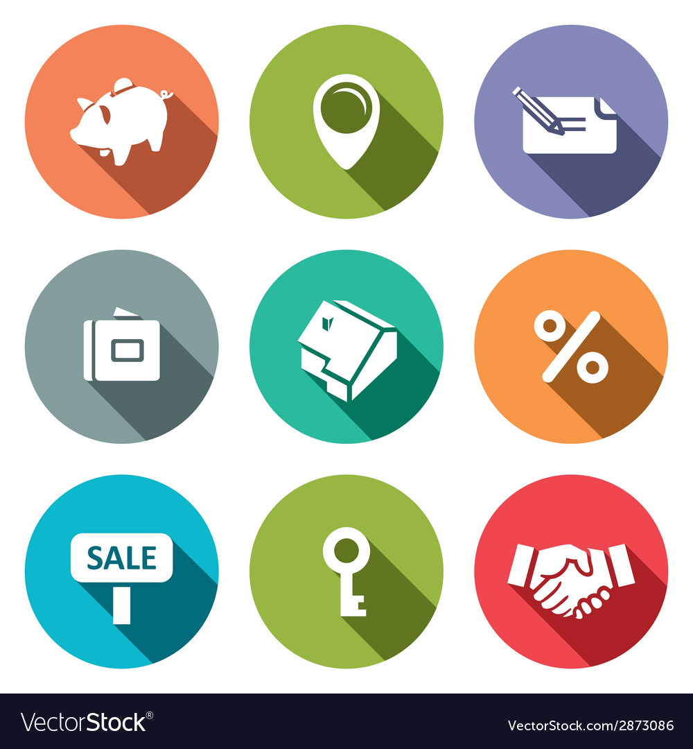 Real estate deal flat icon collection vector | Price: 1 Credit (USD $1)
