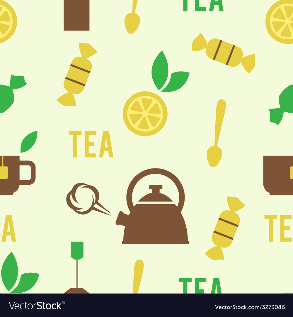 Simple tea concept in seamless pattern vector | Price: 1 Credit (USD $1)
