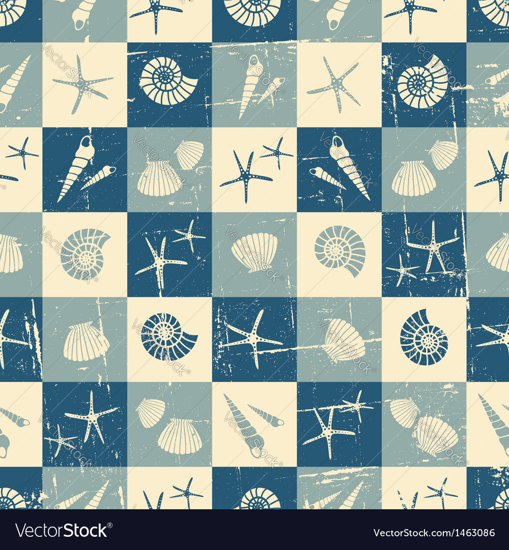 Vintage style seamless pattern with seashells vector | Price: 1 Credit (USD $1)