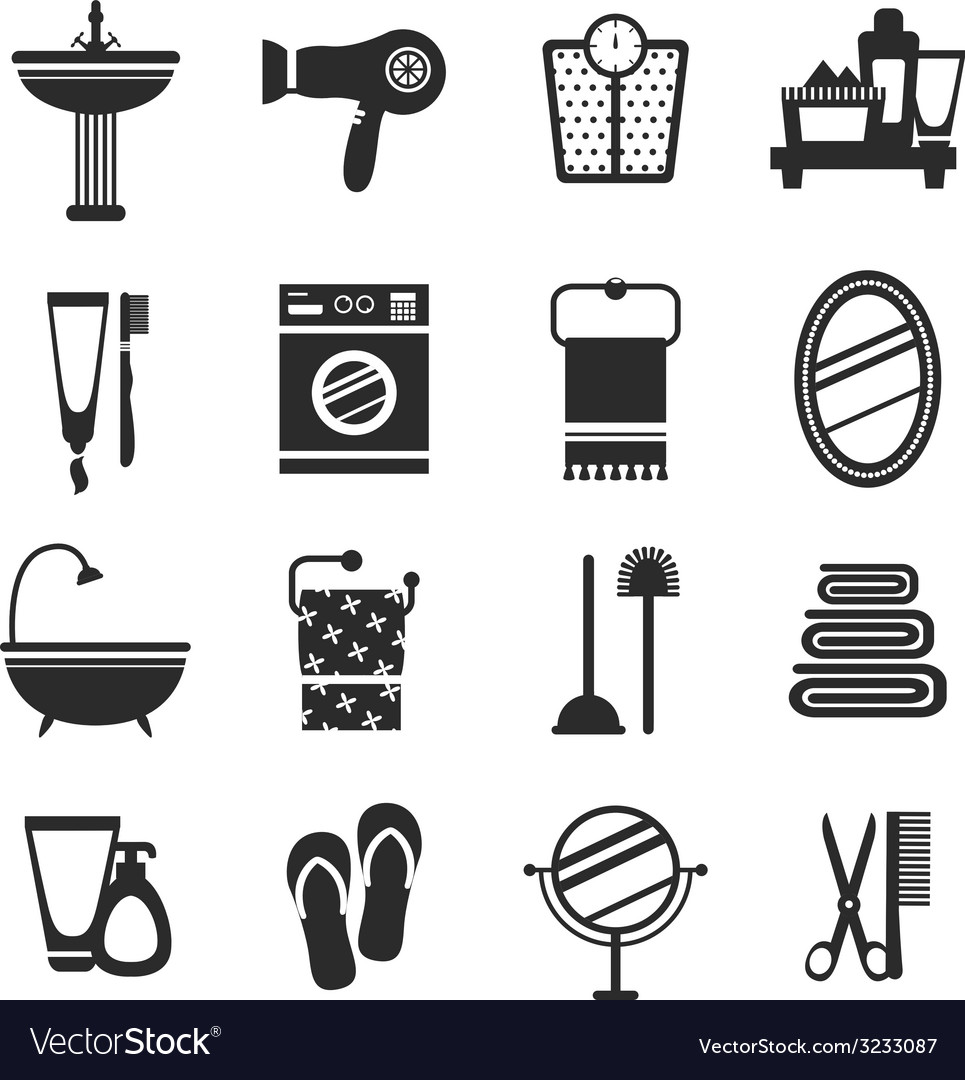 Bathroom icon set black and white vector | Price: 1 Credit (USD $1)