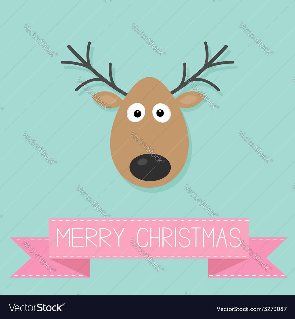 Cute cartoon deer with horn merry christmas vector | Price: 1 Credit (USD $1)