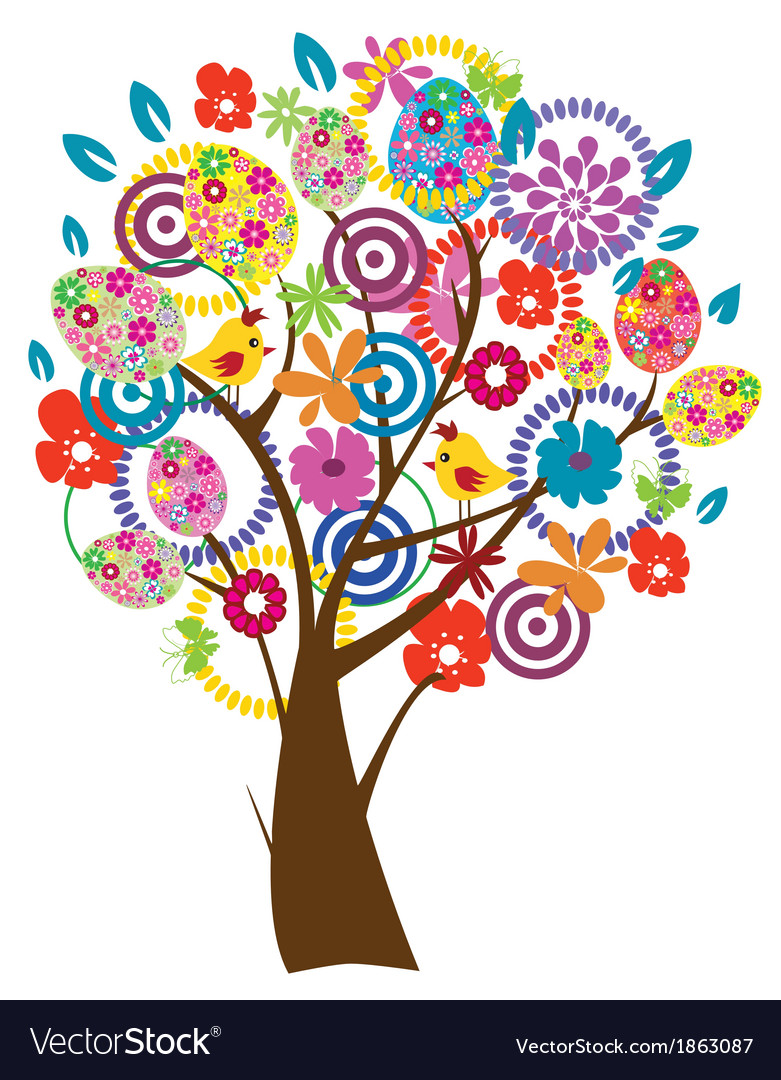 Easter beautiful tree vector   Price: 1 Credit (USD $1)