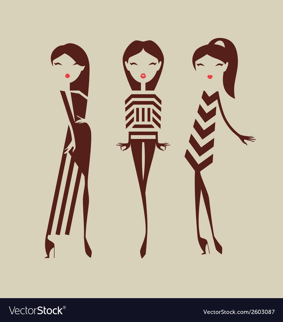 Fashion girls posing isolated on light background vector | Price: 1 Credit (USD $1)