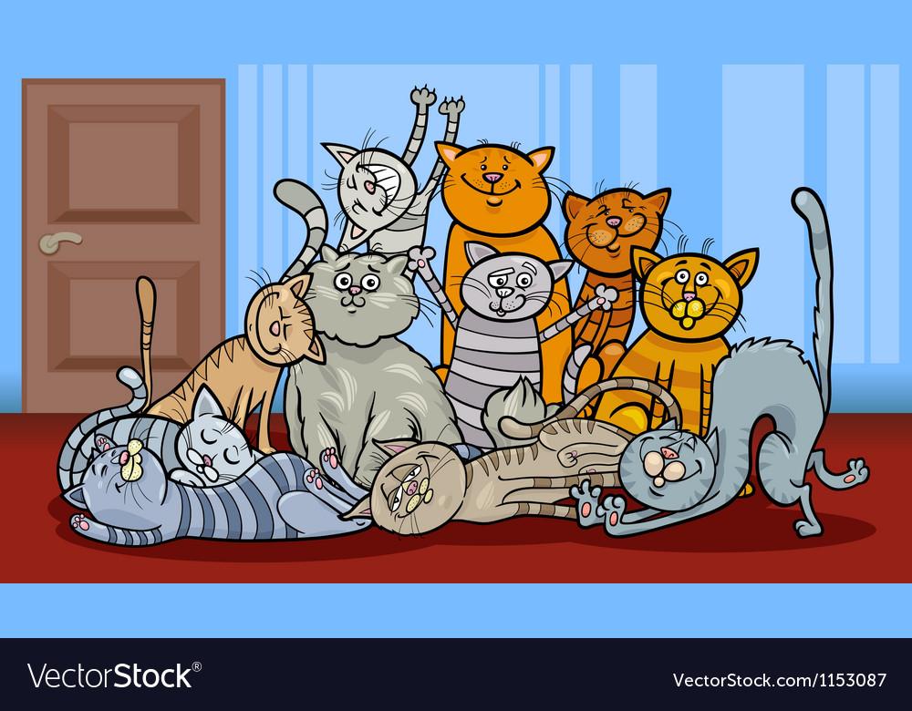 Happy cats group cartoon vector | Price: 1 Credit (USD $1)