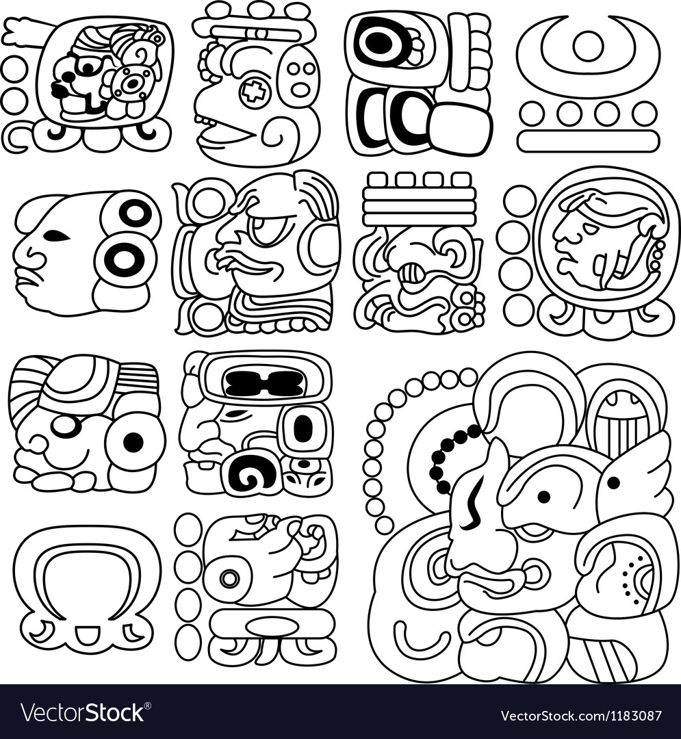 Mayan hieroglyphs vector | Price: 1 Credit (USD $1)