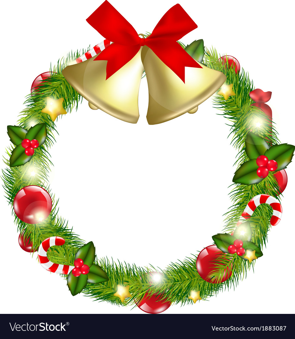 Merry christmas wreath with bells vector | Price: 1 Credit (USD $1)