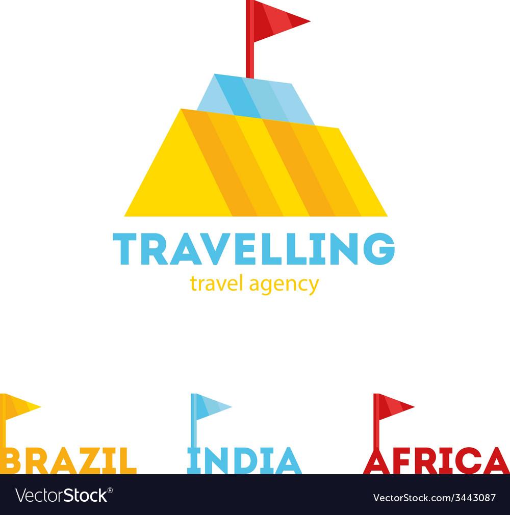 Modern bright creative travel company mountain vector | Price: 1 Credit (USD $1)