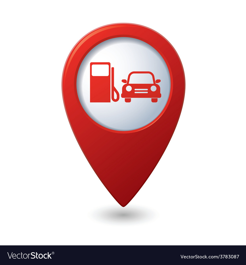 Petrol station and car red pointer vector | Price: 1 Credit (USD $1)