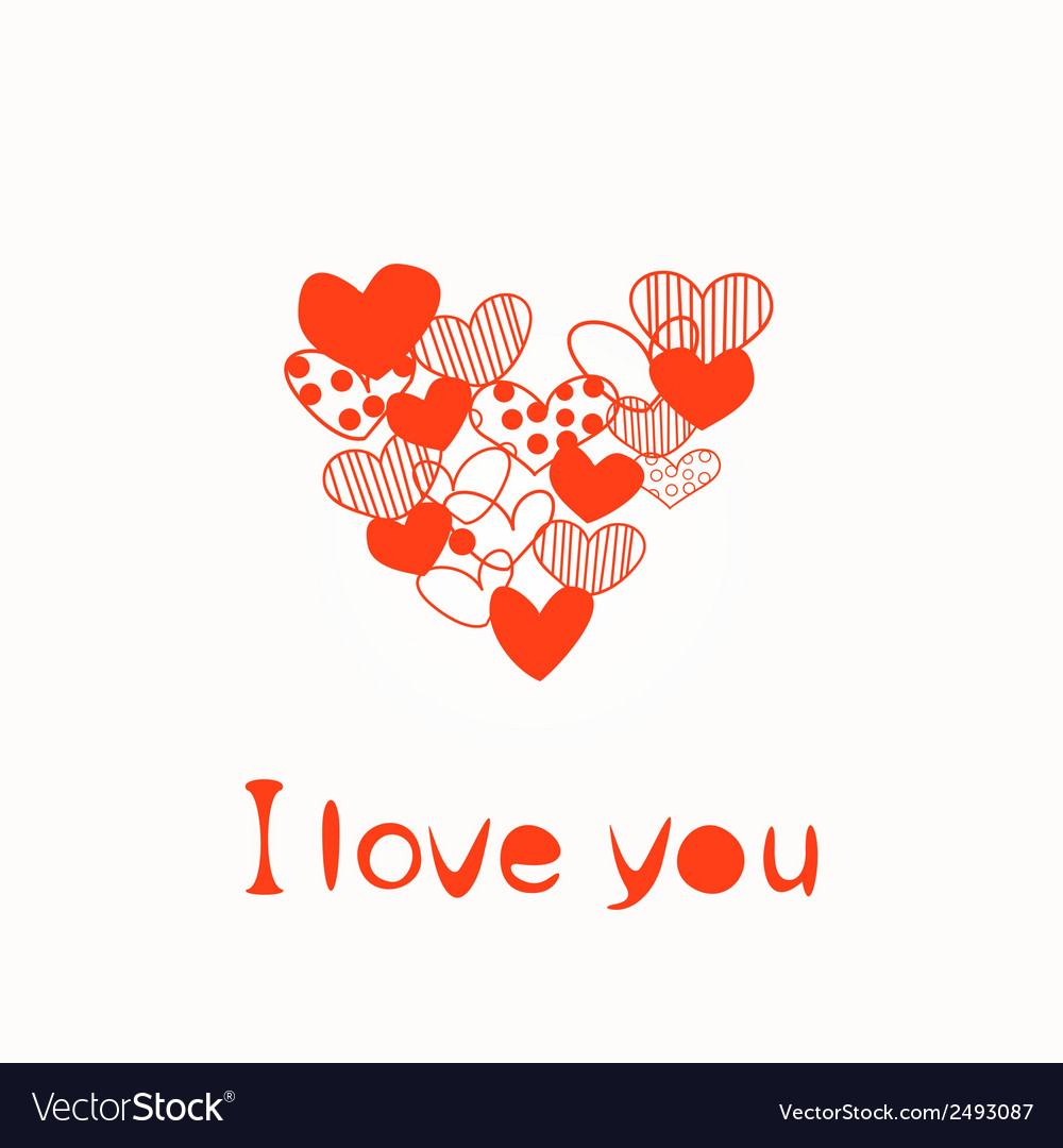 Red love hearts vector | Price: 1 Credit (USD $1)
