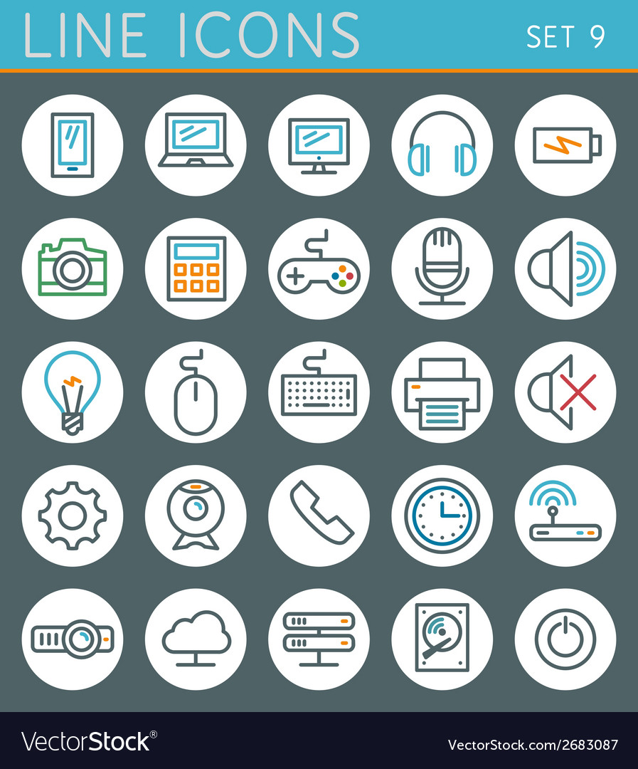 Technology line icons set web design elements vector | Price: 1 Credit (USD $1)