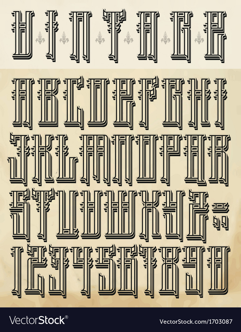Vintage style font vector | Price: 1 Credit (USD $1)