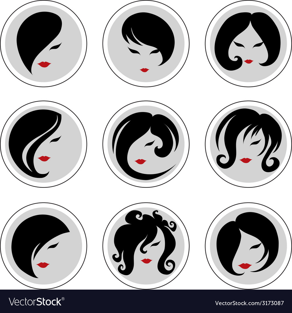 Woman hair pics 2 vector | Price: 1 Credit (USD $1)