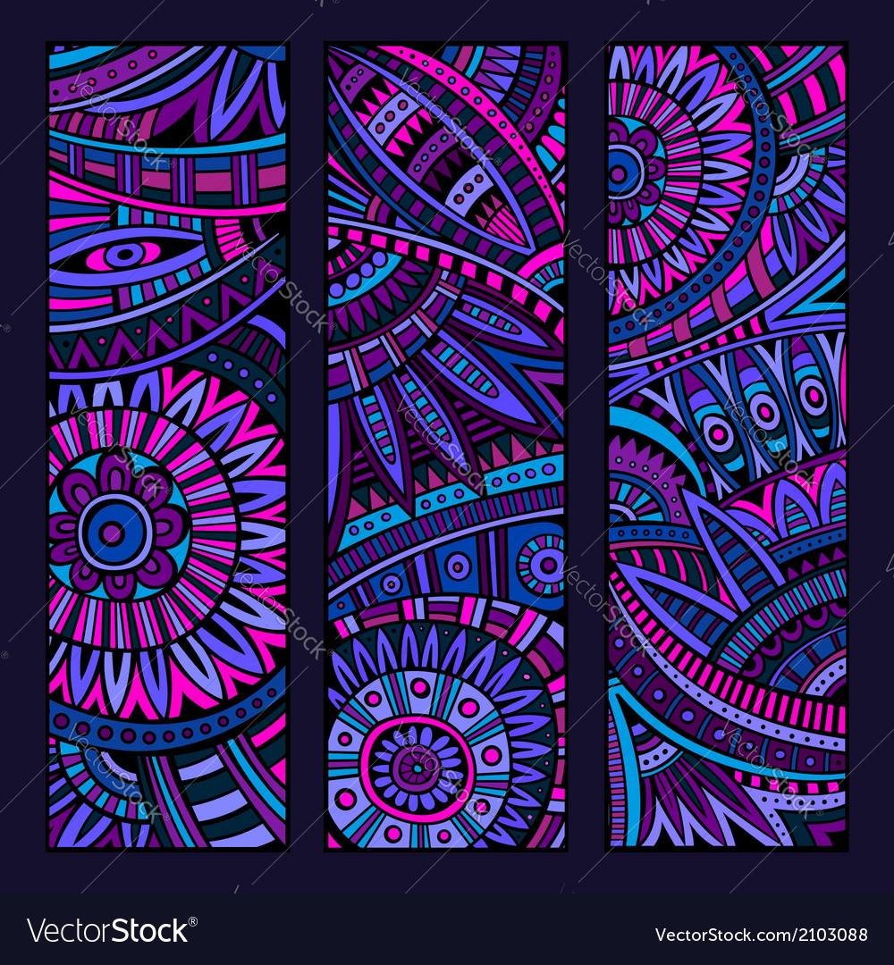 Abstract ethnic pattern card set vector | Price: 1 Credit (USD $1)