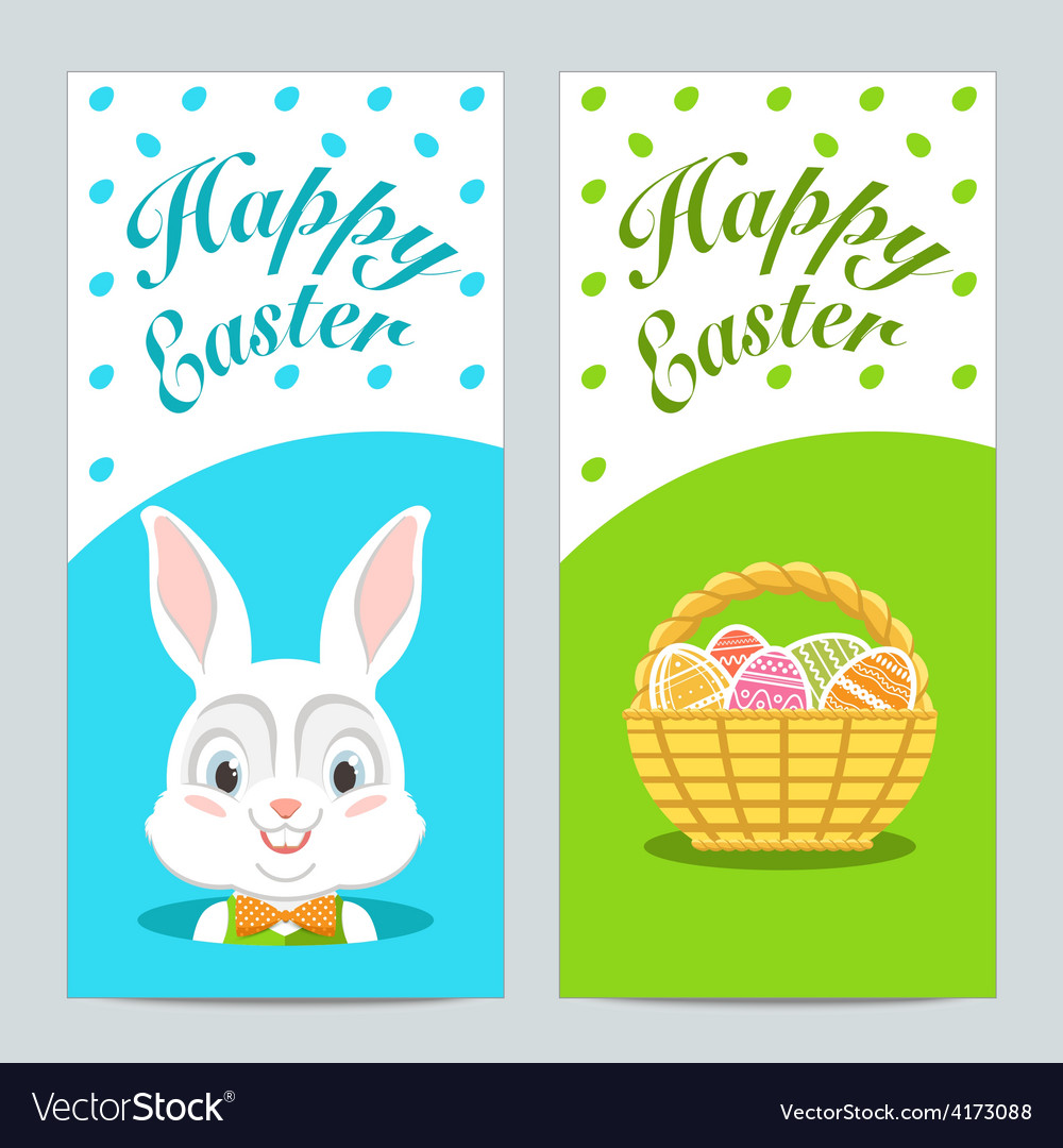 Brochures with happy easter with easter bunny vector | Price: 1 Credit (USD $1)