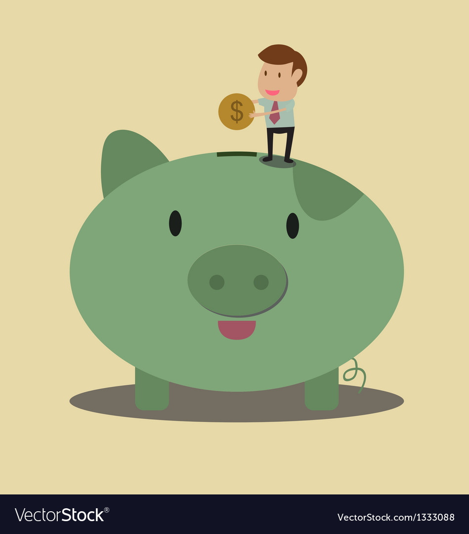 Businessman put coin to piggy bank vector | Price: 1 Credit (USD $1)