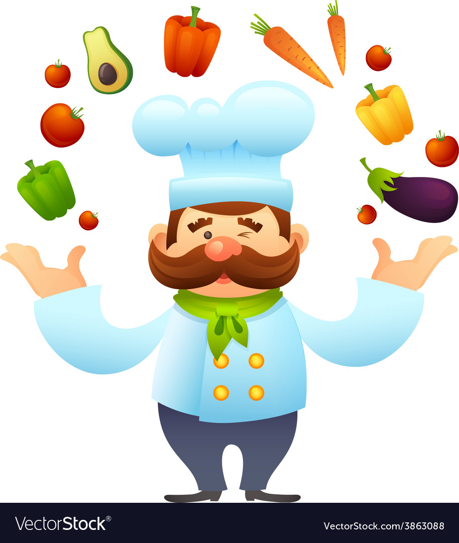 Chef with vegetables vector | Price: 1 Credit (USD $1)