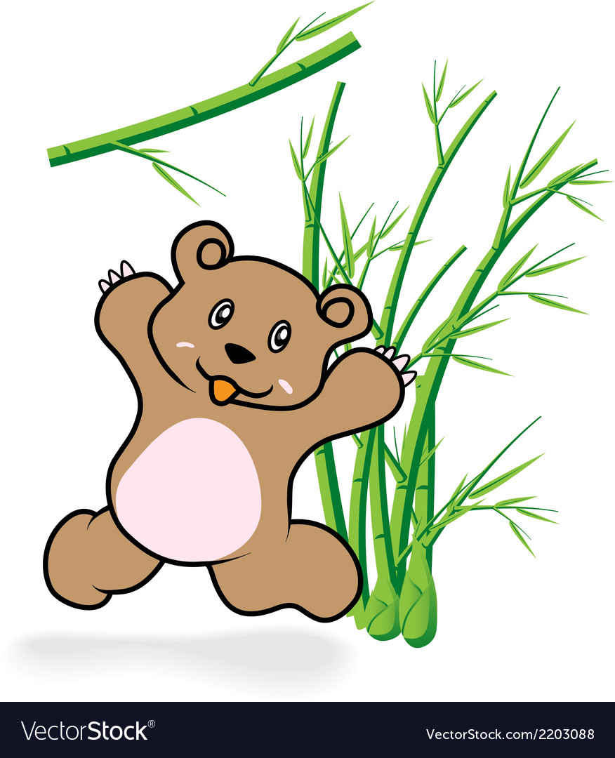 Cute bear in bamboo forrest 05 vector | Price: 1 Credit (USD $1)