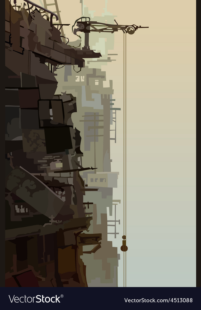 Destroyed buildings in the fog vector | Price: 3 Credit (USD $3)