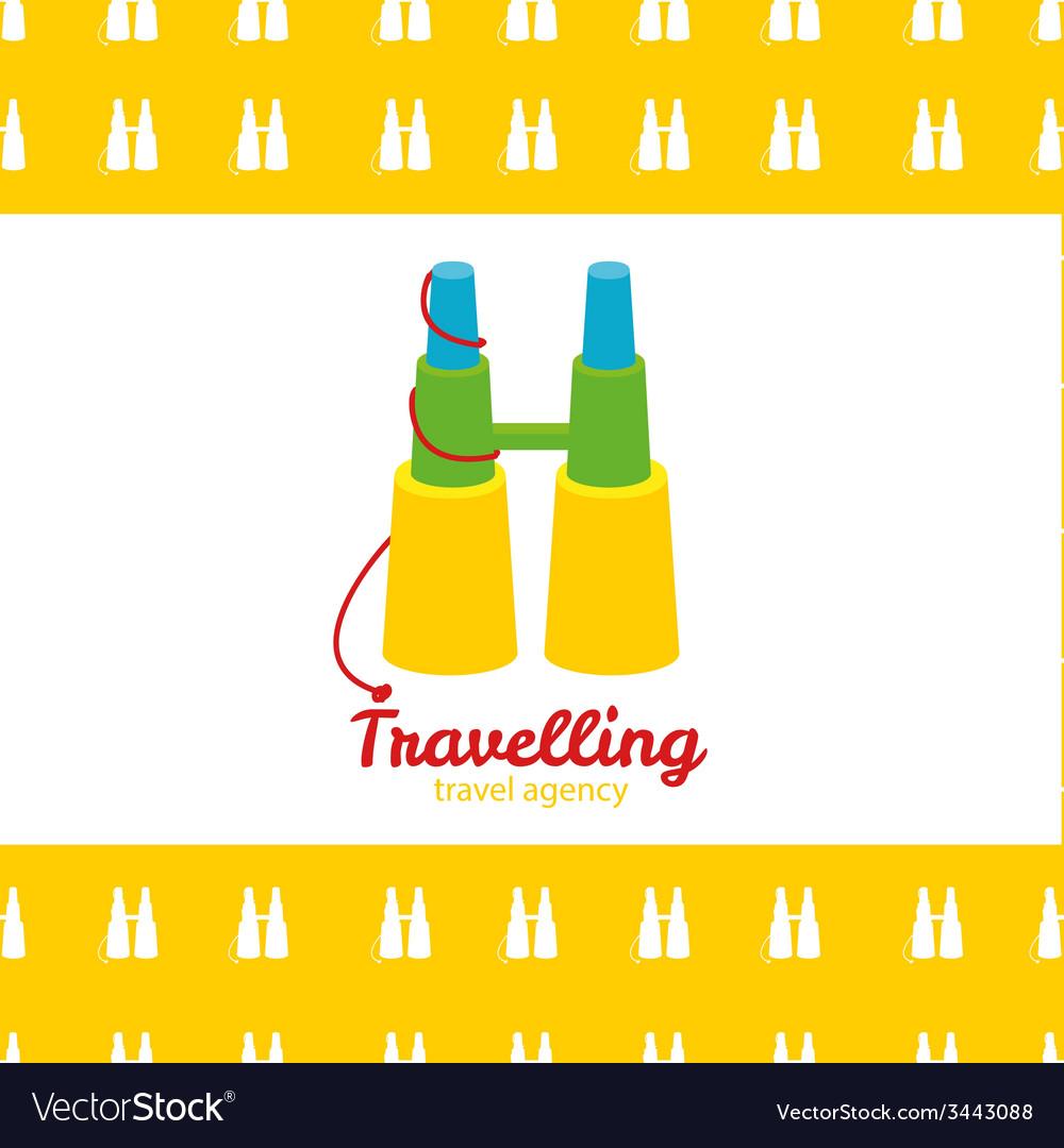 Modern bright creative travel company binoculars vector | Price: 1 Credit (USD $1)