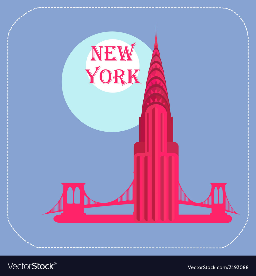 New york chrysler building icon flat vector | Price: 1 Credit (USD $1)