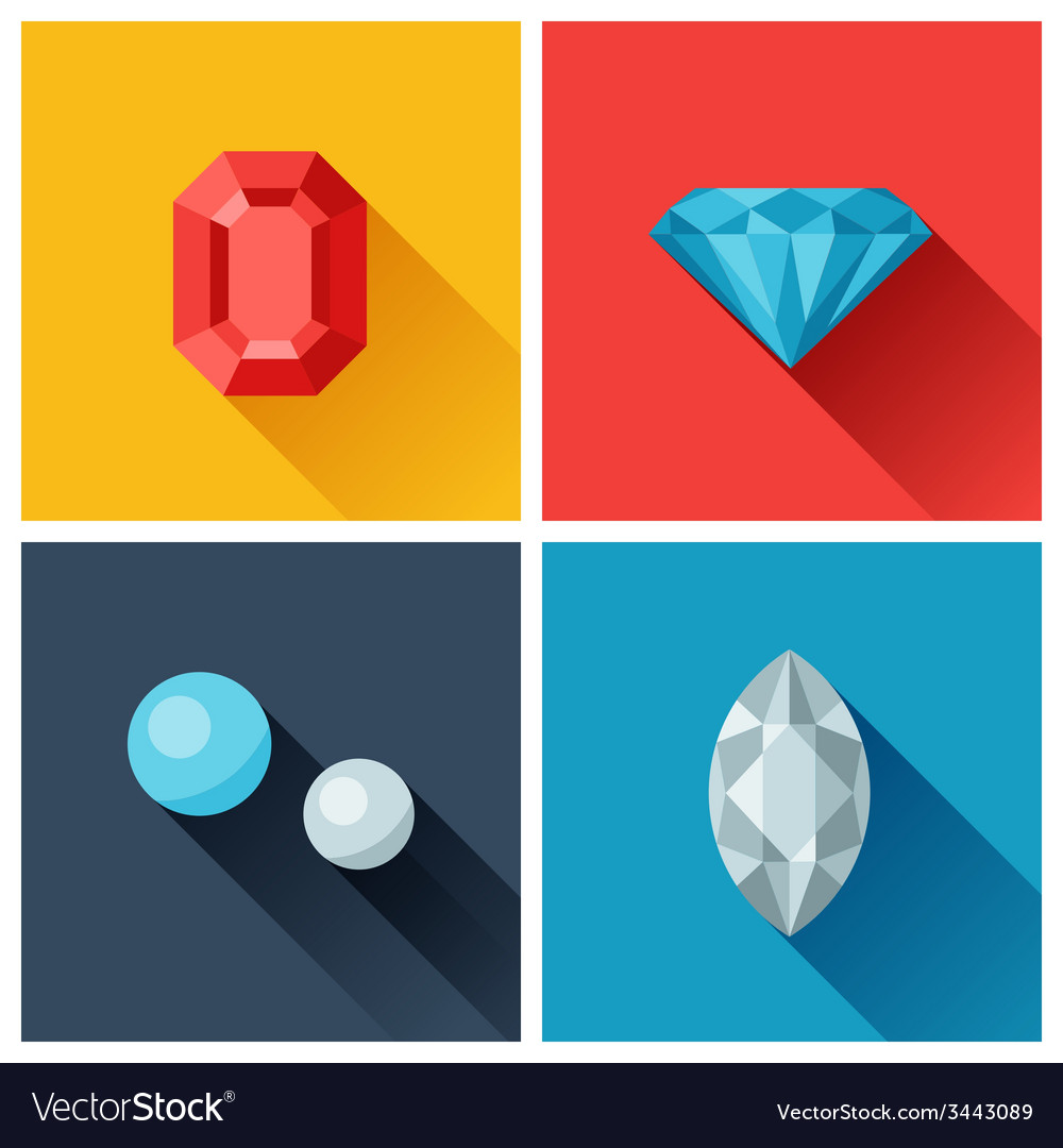 Beautiful jewelry precious stones in flat design vector | Price: 1 Credit (USD $1)