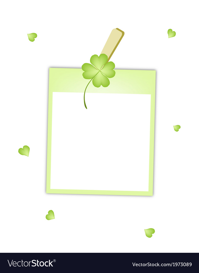 Blank photos with clover hanging on clothesline vector | Price: 1 Credit (USD $1)