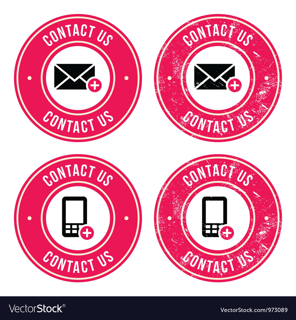 Contact us retro old labels with phone email icon vector | Price: 1 Credit (USD $1)