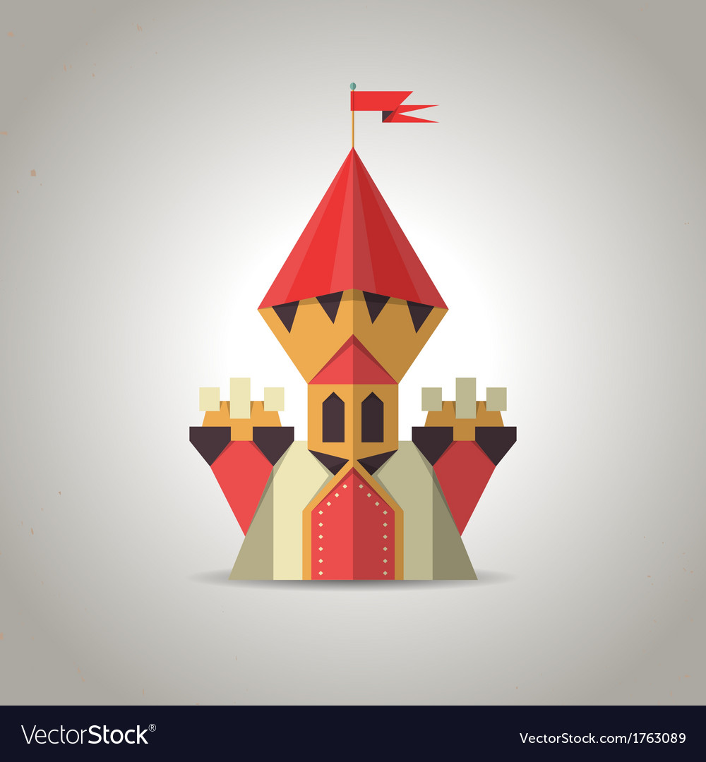 Cute origami castle from folded paper icon vector | Price: 1 Credit (USD $1)