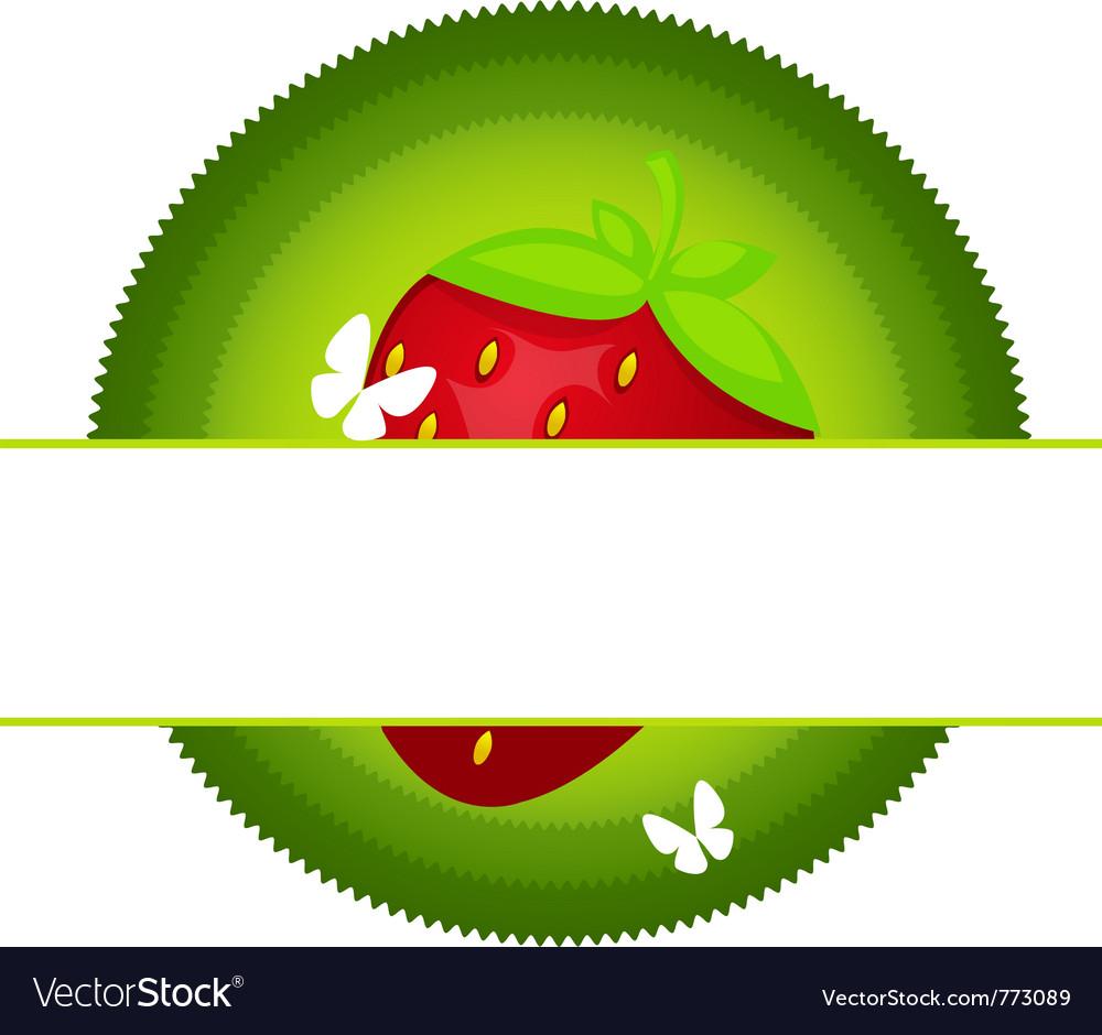Fresh strawberry label vector | Price: 1 Credit (USD $1)