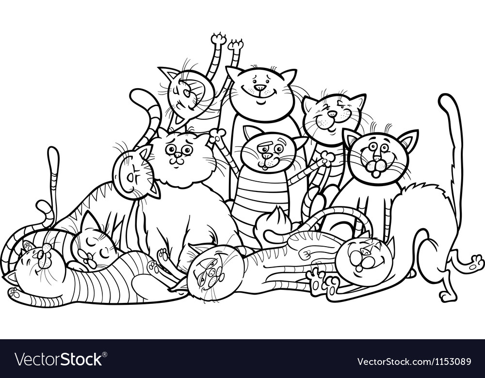 Happy cats group cartoon for coloring book vector | Price: 1 Credit (USD $1)