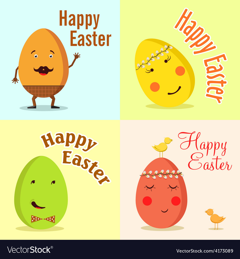Happy easter of funny eggs vector | Price: 1 Credit (USD $1)